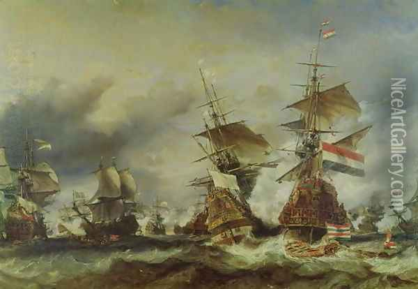 The Battle of Texel Oil Painting - Eugene Isabey
