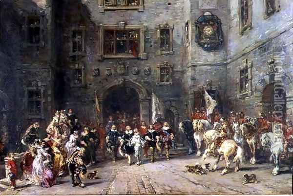 Louis XIII at the chateau of Blois Oil Painting - Eugene Isabey