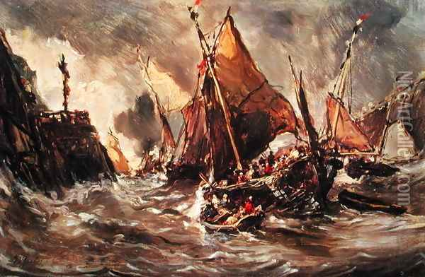 Ships in a Storm Oil Painting - Eugene Isabey