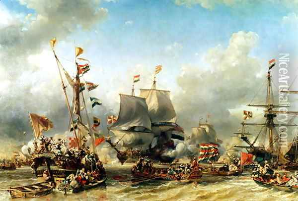 The Embarkation of Ruyter and William de Witt in 1667 Oil Painting - Eugene Isabey