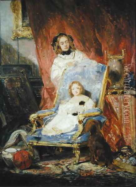 Madame Eugene Isabey and her Daughter Oil Painting - Eugene Isabey