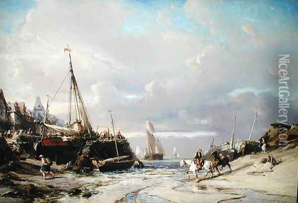 Port en Bretagne Oil Painting - Eugene Isabey