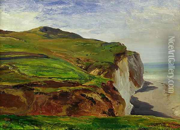 Cliffs Oil Painting - Eugene Isabey
