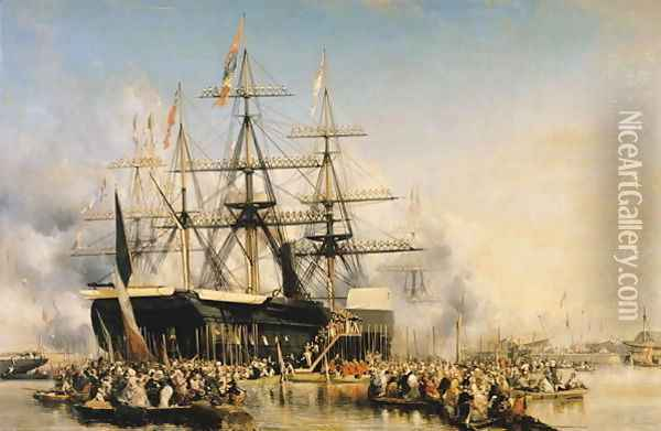 King Louis Philippe 1830-48 Disembarking at Portsmouth Oil Painting - Eugene Isabey