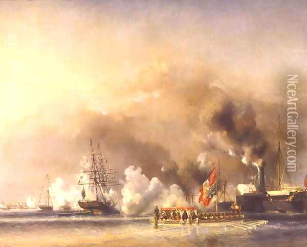 King Louis Philippe 1830-48 Escorting Queen Victoria 1819-1901 Aboard the Royal Yacht Victoria and Albert at Treport Oil Painting - Eugene Isabey