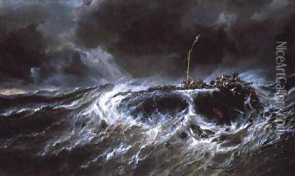 Shipwreck of the Three Master The Emily Oil Painting - Eugene Isabey
