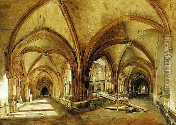 The Cloisters of St Wandrille Oil Painting - Eugene Isabey