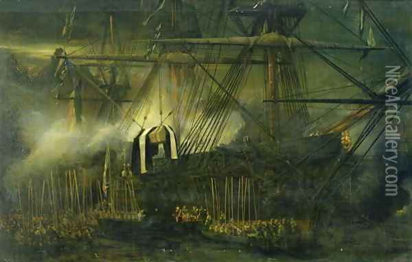 The Shipment of Napoleons Ashes Aboard the Belle Poule at Saint Helena Oil Painting - Eugene Isabey