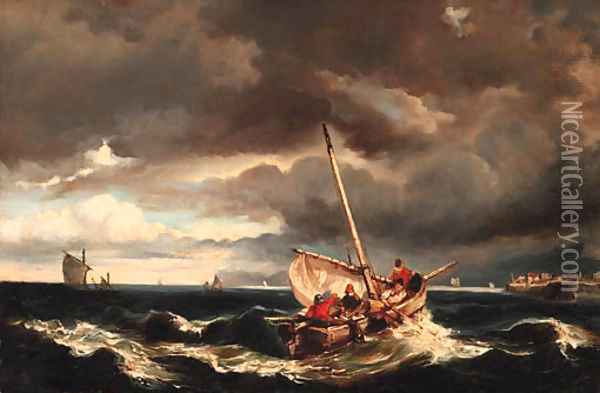 Shipping on stormy seas Oil Painting - Eugene Isabey