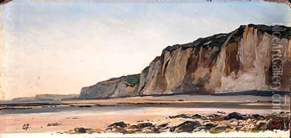 A Coastal Landscape, a sketch Oil Painting - Eugene Isabey