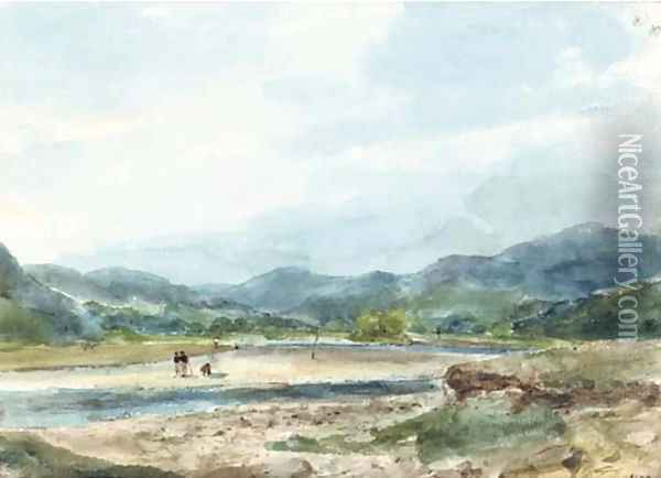 A hilly landscape with figures near a river Oil Painting - Eugene Isabey
