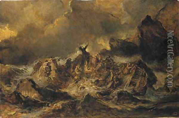 The shipwreck Oil Painting - Eugene Isabey