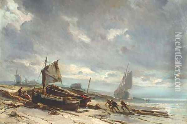 Boats on the Shore Oil Painting - Eugene Isabey