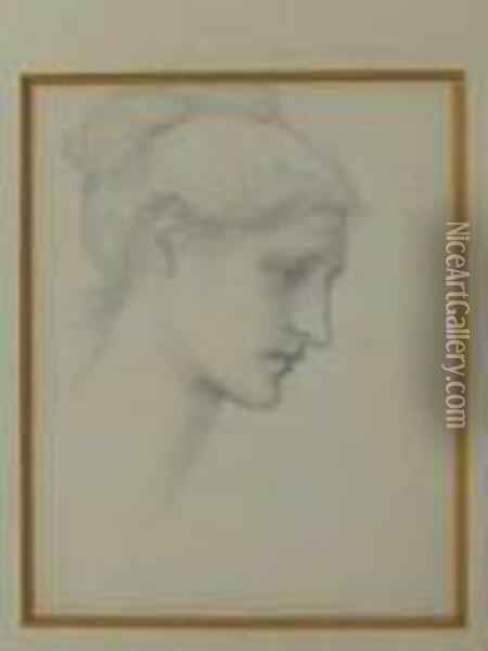 Profile Head Study For Laus Veneris Oil Painting - Sir Edward Coley Burne-Jones