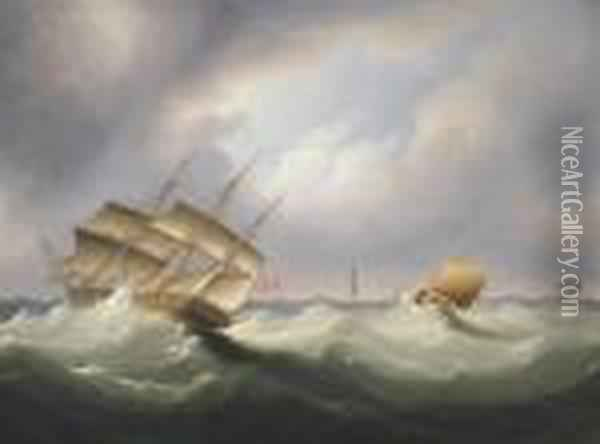 Frigate Off A Lighthouse Oil Painting - James E. Buttersworth