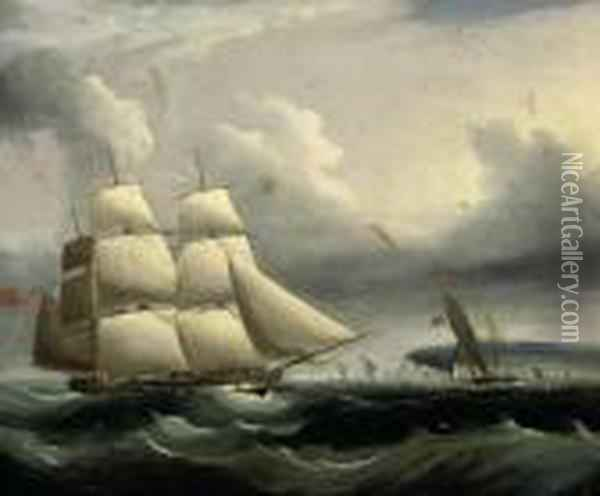 An English Frigate And A Cutter In The Channel Off The Southcoast Oil Painting - James E. Buttersworth