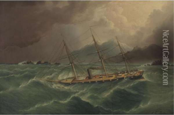 Packet Ship In A Storm At Tierra Del Fuego Oil Painting - James E. Buttersworth