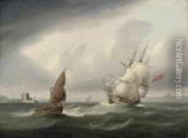 A Royal Navy Frigate Passing The  Belem Tower And Beating Her Way Out Of The Tagus On A Stormy Day Oil Painting - James E. Buttersworth