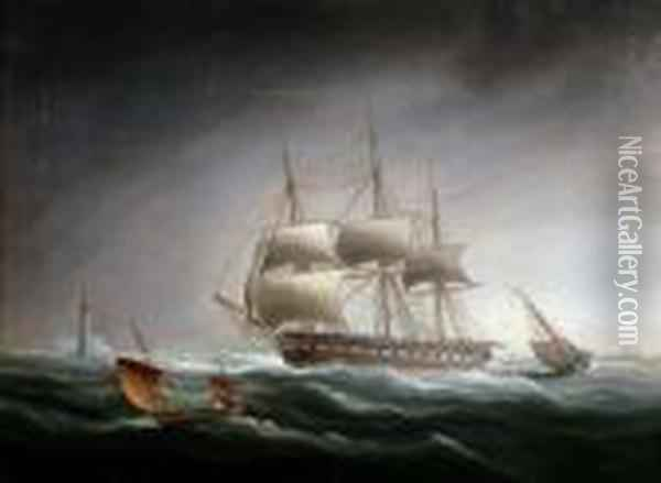 Naval Frigate In A Stormy Sea, With Lighthouse And Steamer In The Distance Oil Painting - James E. Buttersworth