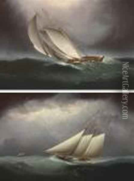 Two Schooners Racing In Heavy Seas Oil Painting - James E. Buttersworth