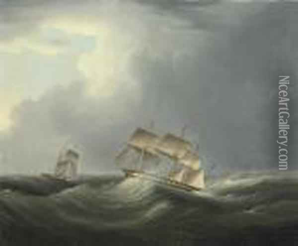 An English Merchantman And Paddle Steamer Caught In A Channelgale Oil Painting - James E. Buttersworth