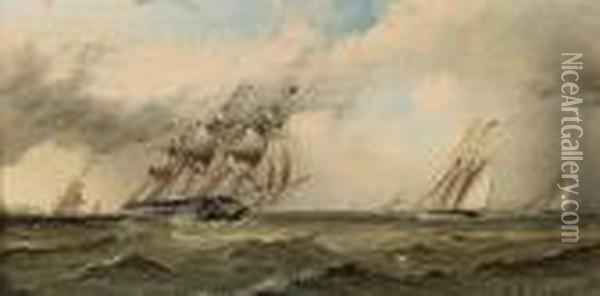 Sailing Vessels Rounding A Distantheadland Oil Painting - James E. Buttersworth