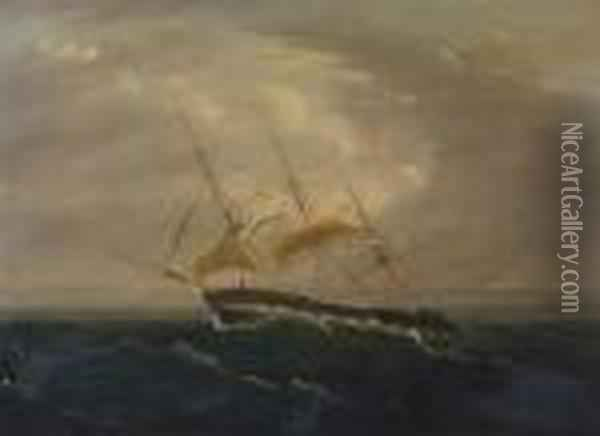 Reefed Down And Riding Out The Gale Oil Painting - James E. Buttersworth