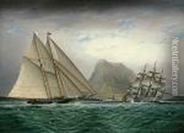 A Schooner And A Barque Sailing Into A Harbor Oil Painting - James E. Buttersworth