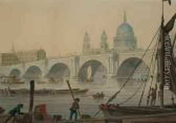 Blackfriars Bridge With St Paul's Cathedral Beyond Oil Painting - James E. Buttersworth
