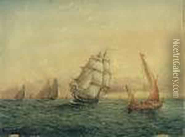 Nearing The Harbor Oil Painting - James E. Buttersworth