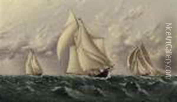 Yachts Racing Oil Painting - James E. Buttersworth