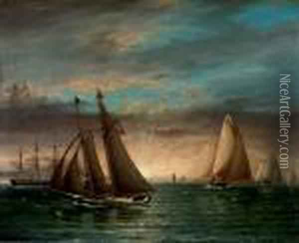 A Schooner And Other Yachts Racing Downwind At Sunset Oil Painting - James E. Buttersworth