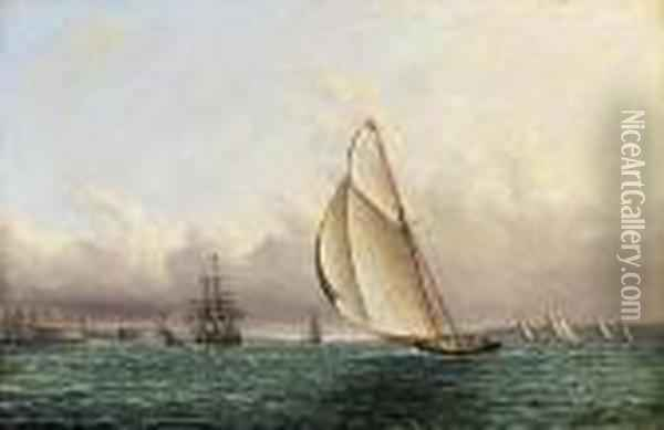 Racing In New York Harbor Off Castle William And Govenor's Island Oil Painting - James E. Buttersworth