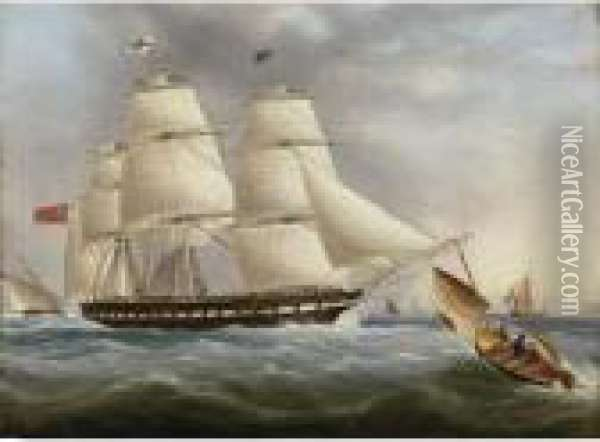A Three-masted Ship Off Dover Oil Painting - James E. Buttersworth