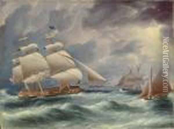 A Three-masted U.s. Merchantman  Shortening Sail Off The Americancoast As The Pilot Cutter Approaches Her  Starboard Beam Oil Painting - James E. Buttersworth