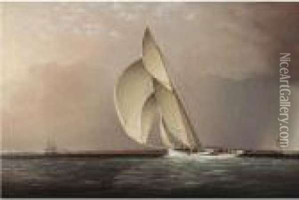 Yachts Racing Off Sandy Hook Oil Painting - James E. Buttersworth