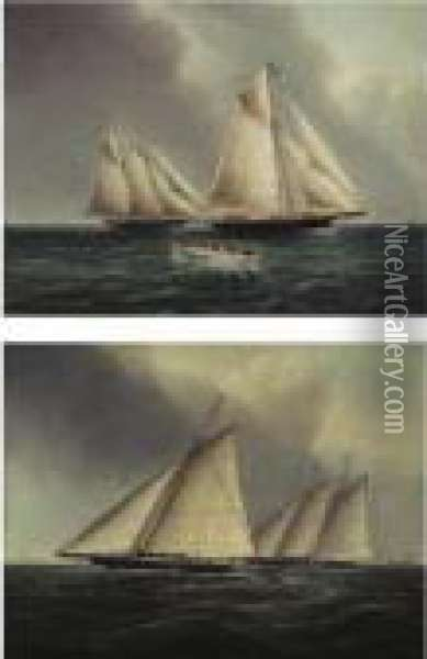 American Racing Yachts, Racing Off The East End Of Long Island: A Pair Of Paintings Oil Painting - James E. Buttersworth