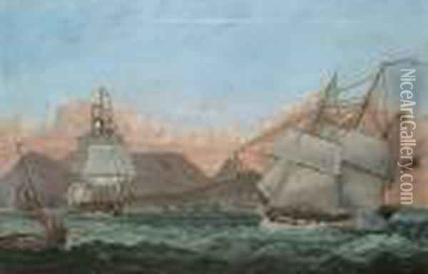 Vessels In Table Bay, Cape Town Beyond, South Africa Oil Painting - James E. Buttersworth