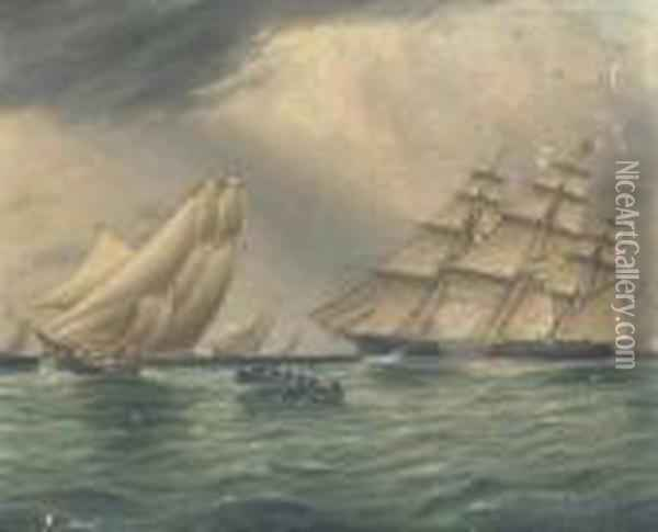 Squadron Of Yachts Passing The Hook Oil Painting - James E. Buttersworth