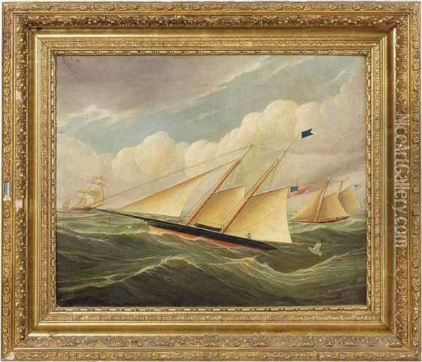 A Sailboat Race Oil Painting - James E. Buttersworth