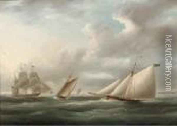 Two Racing Cutters On Opposite Tacks With A Royal Naval Frigate Offto Windward Oil Painting - James E. Buttersworth