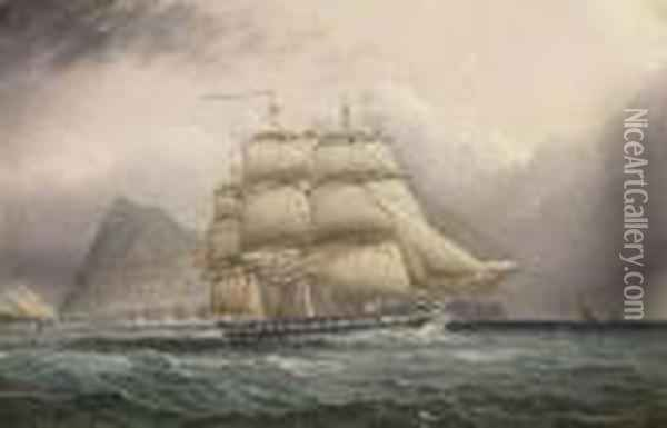 American Frigate Off Gibraltar Oil Painting - James E. Buttersworth