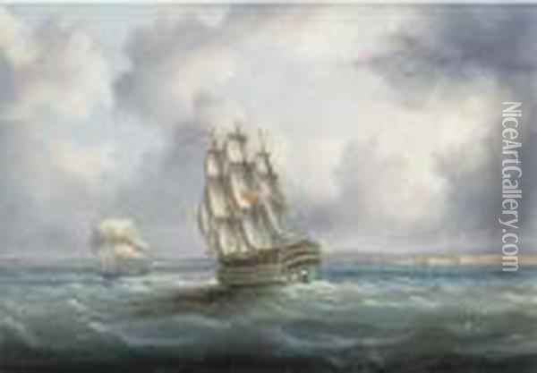A British First Rate In The Atlantic With Cadiz Off To Starboard Oil Painting - James E. Buttersworth