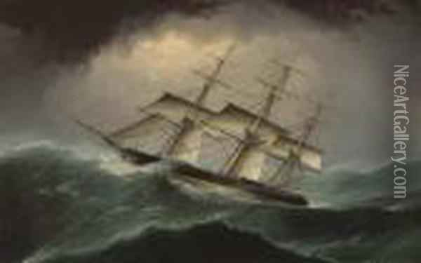 Clipper In A Heavy Sea Oil Painting - James E. Buttersworth