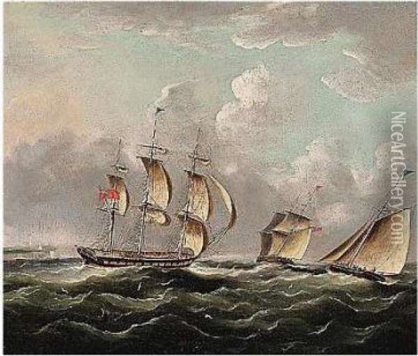 Shipping Off The Coast Oil Painting - James E. Buttersworth