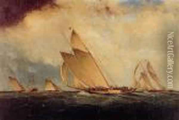 Yacht Race Off Sandy Hook Lightship Oil Painting - James E. Buttersworth