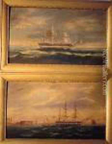Shipping Scenes: Pair Oil Painting - James E. Buttersworth