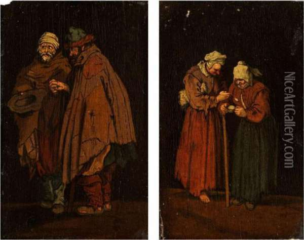 Zwei Bettlerinnen Oil Painting - Jacques Callot