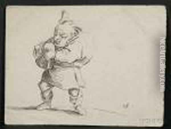 Hunchback With Bagpipe. Oil Painting - Jacques Callot