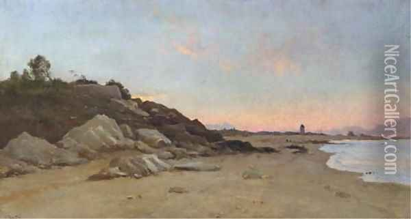 A stretch of coastline at dusk Oil Painting - Marie Joseph Leon Clavel Iwill
